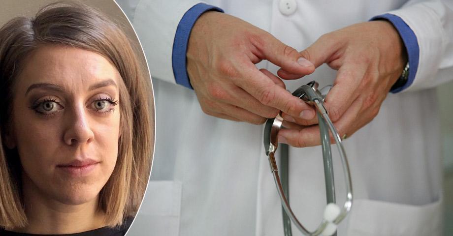 Porträttbild på Fanny Nilsson och närbild på en manlig läkare som håller i ett stetoskop