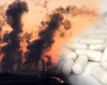 En fabrik som spyr ut rök och en infälld bild med antibiotikatabletter