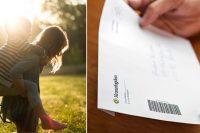 Barn som leker i solen och en vuxen som håller i ett brev från Kronofogden