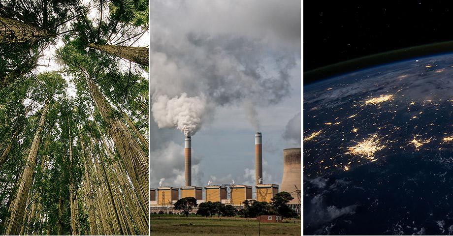 Skog, ett kraftverk som spyr ut rök och en bild på jorden från rymden