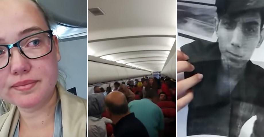 Bilder på Elin Ersson, från inuti flygplanet och på en ung afghansk man