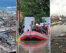 Tre bilder som visar ödeläggelse efter naturkatastrofer i Filippinerna och Indien: En räddningsinsats med gummibåt i översvämmade Srinagar i Kashmir, en ensam pojke som går i resterna av bostäder drabbade av tyfonen Bopha och ett totalt ödelagt samhälle på ön Leyte