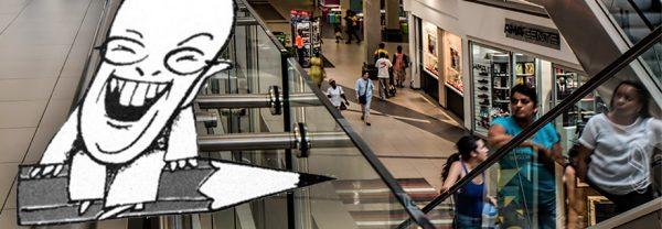 En skämtsam illustration av versmakaren Mats Nörklit, storleende och flygande på en blyertspenna, infälld i en bild som visar människor i rulltrappan i ett köpcentrum