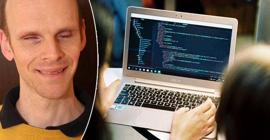 Porträttbild på själv synskadade Henrik Götesson bredvid en bild med två kvinnor som programmerar på en bärbar dator