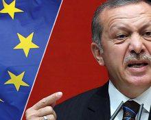 En bild på Turkiets president som gestikulerar och ser arg ut. Samt en EU-flagga