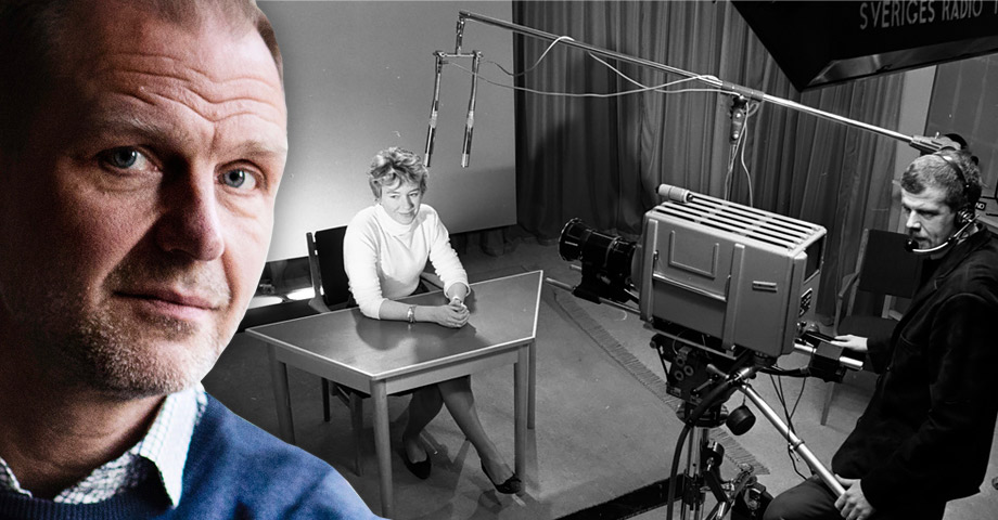 Ett bildmontage där chefredaktör Jonas Nordling syns framför en svart-vit bild på en tevestudio. En kvinnlig programledare sitter framför en kamera, som sköts av en man med headset.