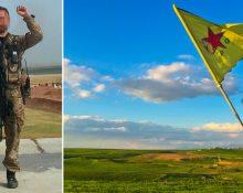 En bild på en kurdisk YPG-soldat i militär uniform och med en k-pist hängande från axeln. Samt en bild med kurdiska YPG:s flagga framför ett syriskt landskap