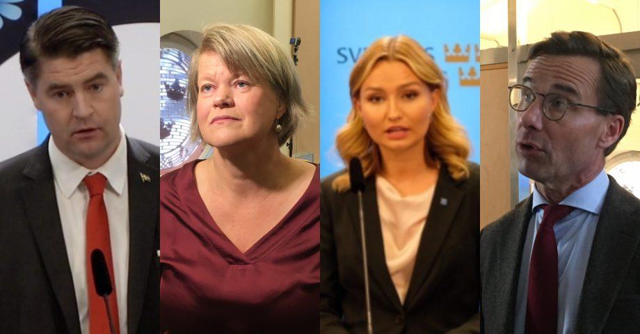 Oscar Sjöstedt (SD), Ulla Andersson (V), Ebba Busch Thor (KD) och Ulf Kristersson (M) under budgetpresentationerna.
