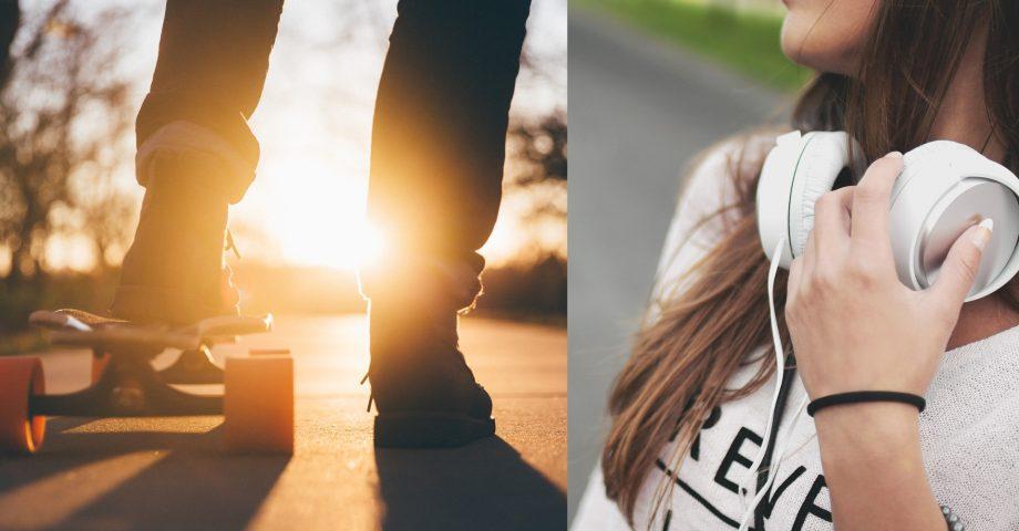 Bilder på skateboard och två ben på den som åker på den. och bild på flickas halva ansikte och överkropp, har hörlurar runt halsen och långt brunt hår.
