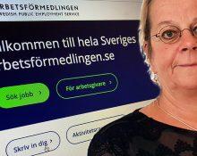 Porträttbild på Anna Danielsson Öberg infälld i en bild som visar Arbetsförmedlingens hemsida