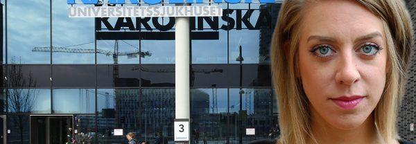 Porträttbild på Fanny Nilsson infälld i en bild på Nya Karolinskas entré. I glaset ovanför dörren speglas en lyftkran.