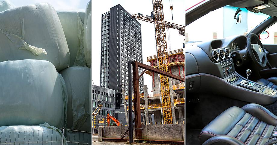 Bild på inplastade balar på en åker, en byggarbetsplats för ett höghus och instrumentbrädan på en bil