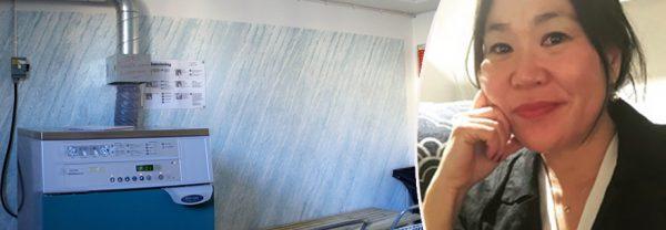 Porträttbild på Mi Lodell infälld bredvid en bild på en tvättstuga i ett flerbostadshus, med en tvättmaskin och två tvättkorgar