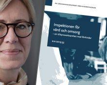 En porträttbild på Sofia Wallström och framsidan på Riksrevisionens rapport infälld till höger om hennes ansikte