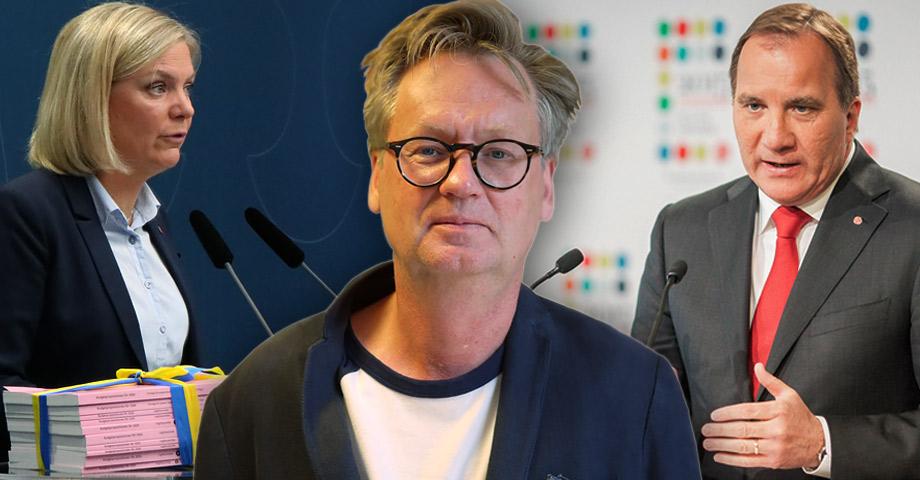 Porträttbild på Håkan A Bengtsson med allvarlig min, flankerad av bilder på finansministern och statsministern i var sin talarstol, de talar engagerat och Löfven gestikulerar med händerna