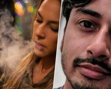 En porträttbild på Tanvir Mansur och en bild på en ung kvinna som röker en e-cigarett