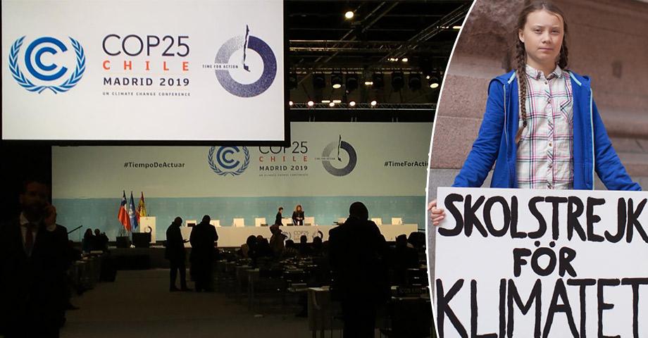 En bild som visar en förhandlingssal under miljötoppmötet COP25 och en bild på Greta Thunberg och hennes nu ikoniska skylt med texten Skolstrejk för klimatet