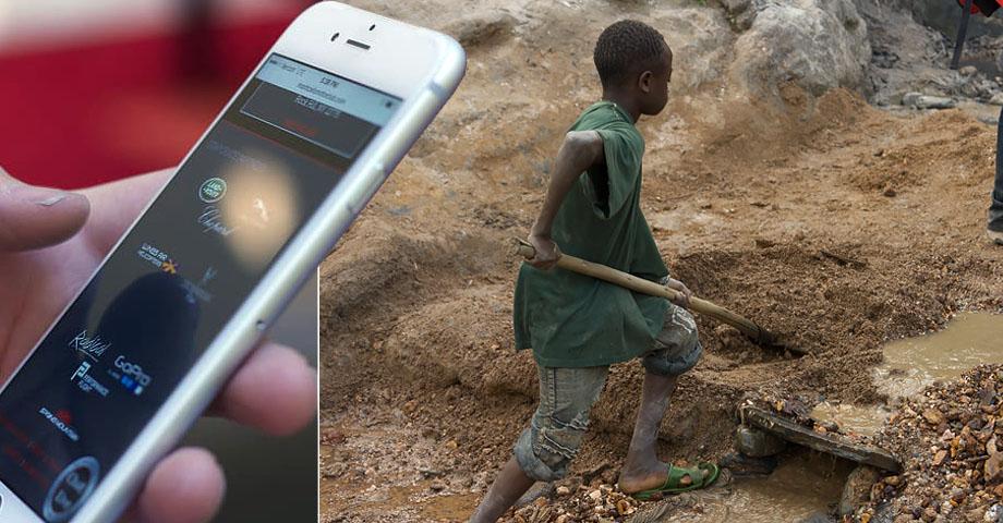 Bild på en hand med en Iphone, infälld framför en bild på en ung pojke som gräver upp metaller med en spade i Kongo-Kinshasa