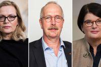Porträttbilder på de tre debattörerna, samtliga ser allvarliga ut
