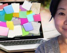 Porträttbild på Mi Lodell, som ler. Infälld i en bild av en laptop med skärmen täckt av post-it-lappar